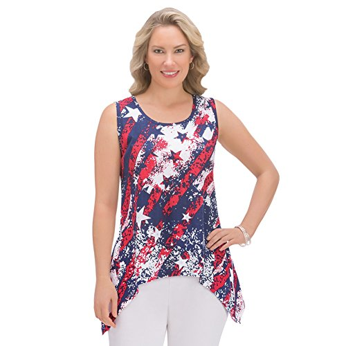 Women's Patriotic Americana Stars and Stripes Sequins Scoop Neck Shark bite Sleeveless Tank Top, Multi-Colored, X-Large