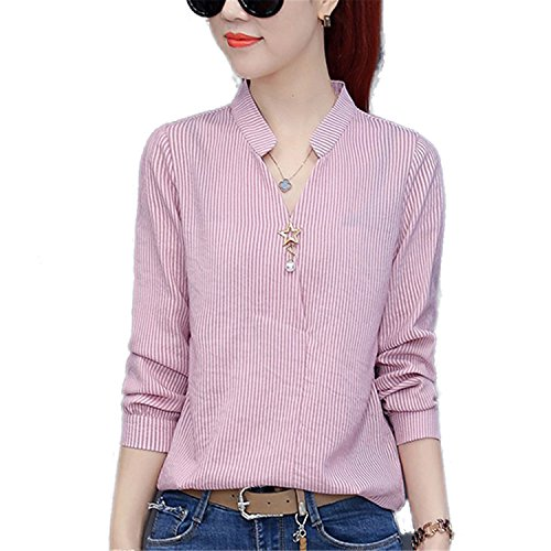 OUXIANGJU New Women Spring Work Wear Shirts Ladies V-Neck Long Sleeve Tops Casual Striped Blouses at Amazon Womens Clothing store: