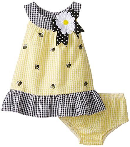 Rare Editions Baby Baby-Girls Newborn Yellow Seersucker Dress with Panty Set
