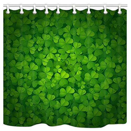 JAWO Green Clover Shower Curtains Shamrock Plant for St. Patrick Holiday Fabric Bathroom Curtain with Reinforced Buttonholes and Hooks,Warterproof Mildew Resistant,69x70inches