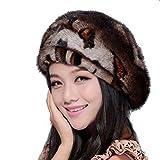 Women's Mink Full Fur Beret Hats (One Size, Leopard Point)