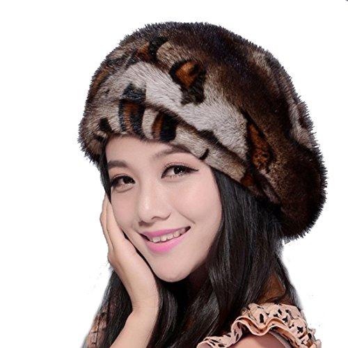 Women's Mink Full Fur Beret Hats (One Size, Leopard Point) by Starway0311