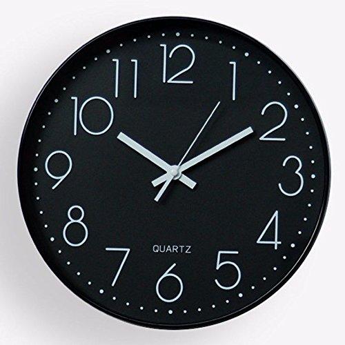 オフィス用の寝室用リビングルーム用静かな壁時計、黒 B07FGF54BL黒