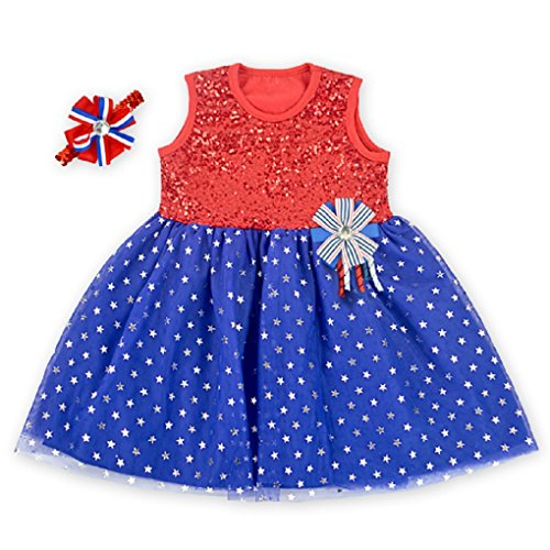 """Dance July Costumes 4th Of (Rush Dance Boutique July 4th Patriotic Girls OR 18"""" Doll Dress Tutu & Hairbow (S (1-2T), Red Top with Blue)"""