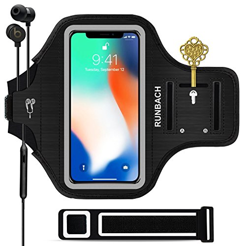 iPhone X/XS Armband,RUNBACH Sweatproof Running Exercise Gym Cellphone Sportband Bag with Fingerprint Touch/Key Holder and Card Slot for iPhone X/XS (Black)