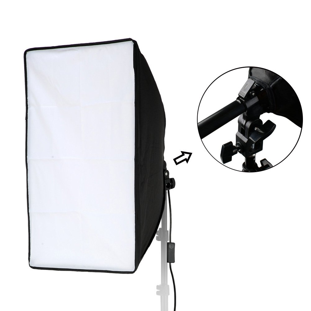 Lightdow 20x28(50x70cm) Studio Softbox Only(NO Light Stand), 9ft/2.8m Long Cable with E27 Screw Socket (Upgrade Version with Hand Grip & Spring Lock System)