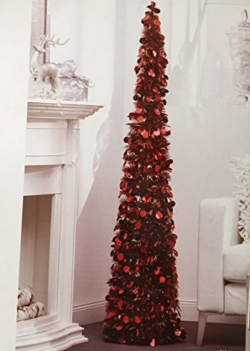 amazoncom 5 ft collapsible tinsel tree pop up slim decorative tree for christmas new years and year round red and white with red home kitchen - Year Round Christmas Tree
