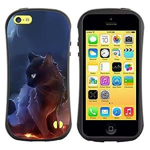 All-Round híbrido de goma duro caso cubierta protectora Accesorio Generación-I BY RAYDREAMMM - Apple iPhone 5C - Sorceress Witch Cat Smoke Art Black Fire