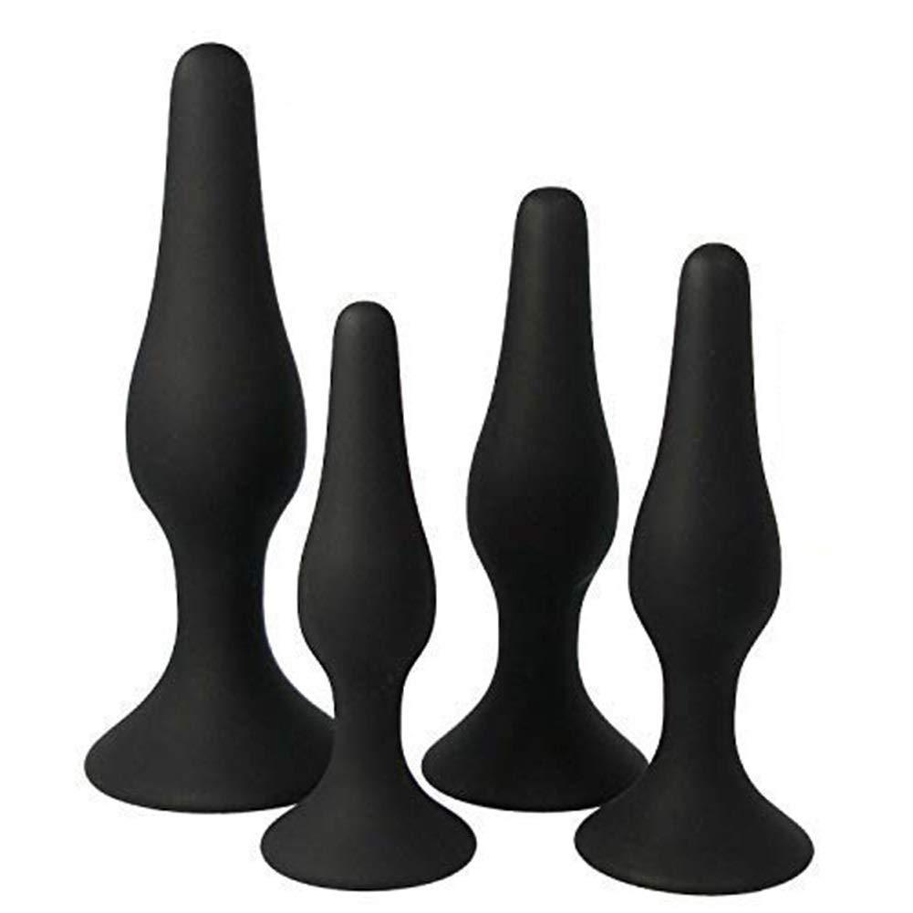 XYSH 4pcs/Set Soft Medical Silicone Trainer Kit Plugs Beginner Set for Women and Men (Black)