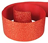 HipGirl Glitter Sparkle Ribbon for Hair Bows, Cheer Bows, Dance, Floral Designs, Gift Wrapping, Sewing… (3'' x 10yd, Red)