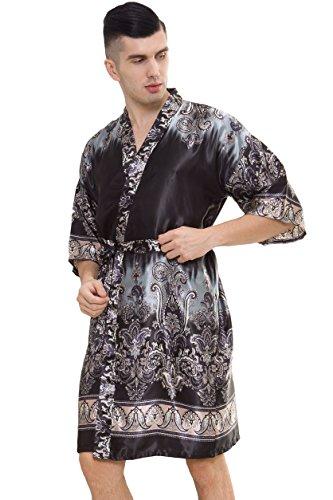 4a0c9798db samurai JP Men's Kimono Robe Style Satin Relaxation Bathrobe with Towel  (Shadow Silver)