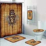 Philip-home 5 Piece Banded Shower Curtain Set Steampunk Skull on Parchment Digitally manipulated 3D Render Decorate The Bath