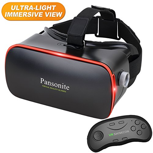 Pansonite 3D VR Glasses Virtual Reality Headset for Games & 3D Movies, Lightweight with Adjustable Pupil and Object Distance for iOS and Android Smartphone (Dark Blue with Controller)