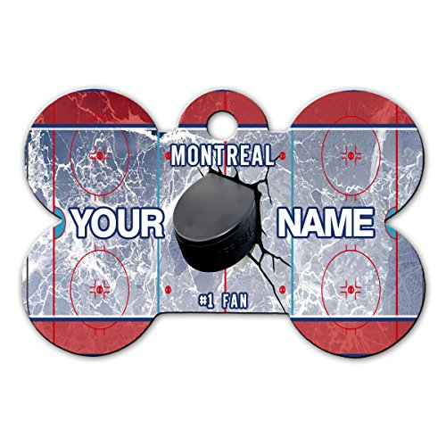 BleuReign(TM) Personalized Custom Name Hockey Team Montreal License Plate Bone Shaped Metal Pet ID Tag with Contact Information