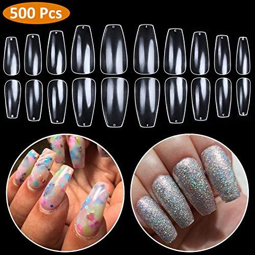 Coffin Nails Full Cover - Short Ballerina Nails Clear Fake Nail BTArtbox 500 Pcs Acrylic False Nail Tips, 10 Sizes]()