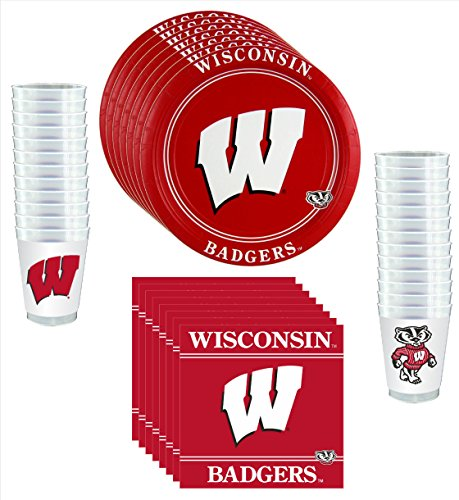 Wisconsin Badgers Party Pack - 81 pieces (Cups Wisconsin Badgers)