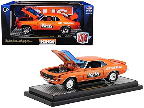 """1969 Chevrolet Camaro SS/RS 396""""RHS Metallic Orange with Black Stripes Detroit Muscle Limited Edition to 5,880 Pieces Worldwide 1/24 Diecast Model Car by M2 Machines 40300-65A"""