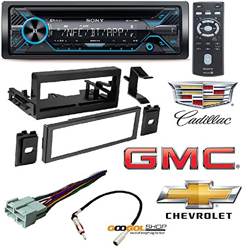 Sony 220W Amp Car Stereo CD MP3 iPod USB iPhone AUX EQ Bluetooth Car CD Stereo Receiver Dash Install Mounting Kit Wire Harness Cadillac Cheverolet GMC 1995- (Sony Ipod Stereo)