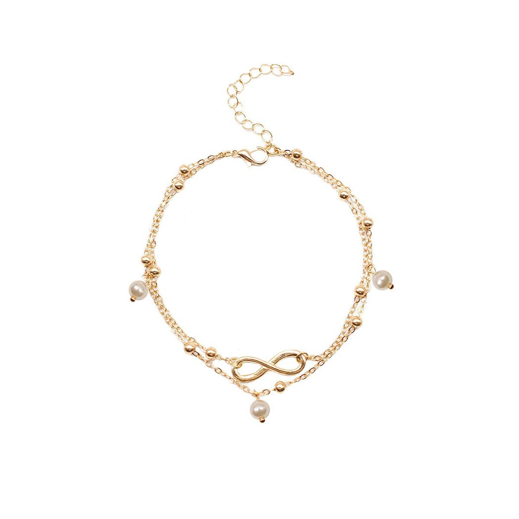 Adflyco Boho Layered Anklets Beaded Anklet Bracelets Lucky Beach Foot Jewelry Adjustable for Women and Girls (Gold)