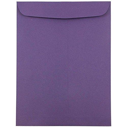 JAM Paper 9 x 12 Open End Envelopes with Gum Closure - Dark Purple - 10/pack