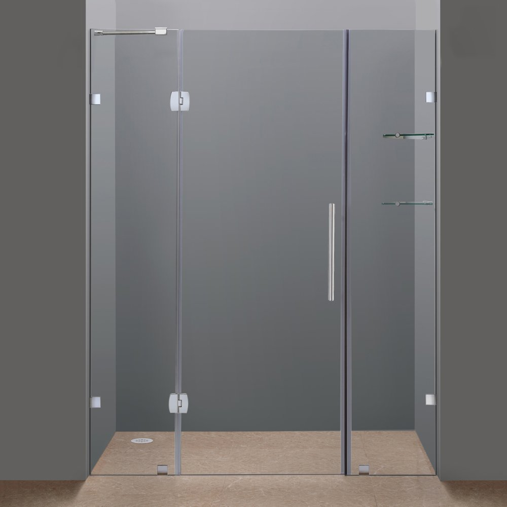 Amazon aston sdr983 ch 60 6 60 inch x 75 inch completely amazon aston sdr983 ch 60 6 60 inch x 75 inch completely frameless hinge shower door with glass shelves chrome finish home improvement planetlyrics
