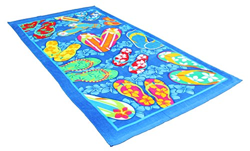Fashion Colorful Terry Cotton Beach Towel, 30x60'', Soft Absorbent and Dry Fast for Swimming Pool, Beach and Spa-Summer Sandals by J&M Home Fashions
