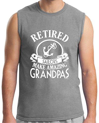 Retirement Grandpa Gift Retired Sailor Sleeveless T-Shirt Large SpGry