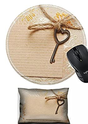 MSD Mouse Wrist Rest and Round Mousepad Set, 2pc Wrist Support design 24018327 Heart Shaped key tied with a rope to a paper card in a vintage style Copy space