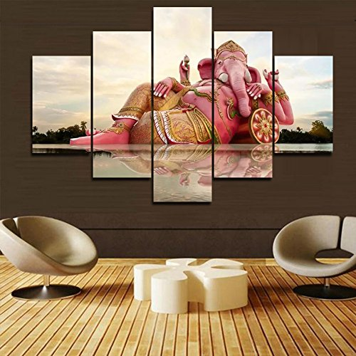 Extra Large Wall Paintings for Bedroom 5 PCS/Set Wall Art Ganesha Indian Elephant Religious Canvas Pictures Artwork Contemporary Home Decor Painting Modern Framed Stretched Ready to Hang(60''Wx40''H)
