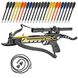 Crossbow Self-Cocking 80 LBS by KingsArchery® with Hunting Scope, Spare Crossbow String and Caps, 3 Aluminium Arrow Bolts, and Bonus 24-pack of Colored PVC Arrow Bolts + KingsArchery® Warranty