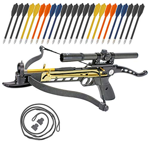 Crossbow Self-Cocking 80 LBS by KingsArchery® with Hunting Scope, Spare Crossbow String and Caps, 3 Aluminium Arrow Bolts, and Bonus 24-pack of Colored PVC Arrow Bolts + KingsArchery® ()
