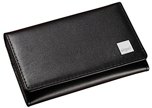 Sigel VZ200 Business Card Wallet, leather Torino, black, with 2 main compartments and 3 side compartments (Torino Stock)