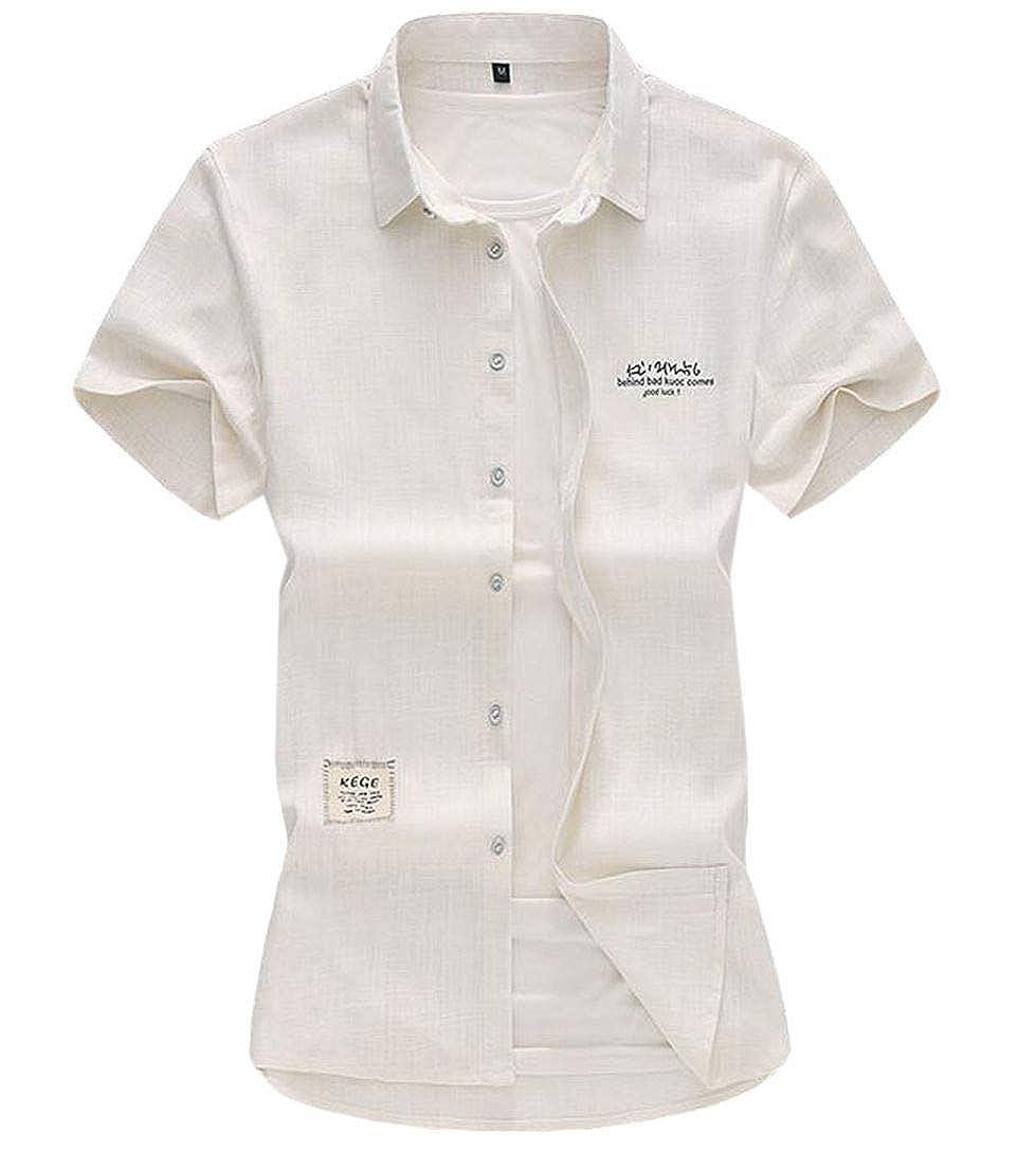 Nanquan Men Printed Linen Button Down Short Sleeve Plus Size Slim Fit Shirt