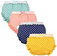 Whteian Baby Girls Bloomers Newborn Infant Toddler Diaper Covers Kids Girls Briefs Underwear Set 0-4T 4-Pack