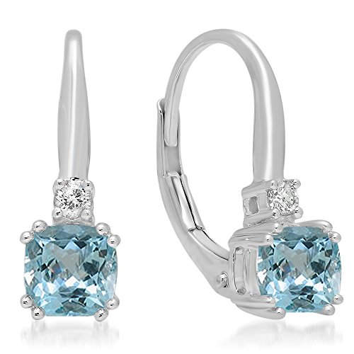 - Dazzlingrock Collection 14K Cushion Cut Aquamarine & Round Cut White Diamond Ladies Dangling Drop Earrings, White Gold