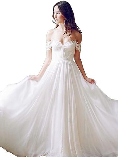 Lovelybride Off the Shoulder a Line Long Chiffon Bridal Beach Wedding Dress