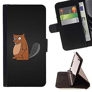 BullDog Case - FOR/Sony Xperia Z2 D6502 / - / Cool Evil Badger /- Monedero de cuero de la PU Llevar cubierta de la caja con el ID Credit Card Slots Flip funda de cuer