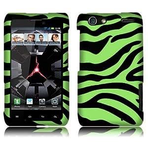 Neon Green Zebra 2D Silver Texture Protector Cover Hard Case - Snap On - Faceplate ForMotorola Droid RAZR XT912...