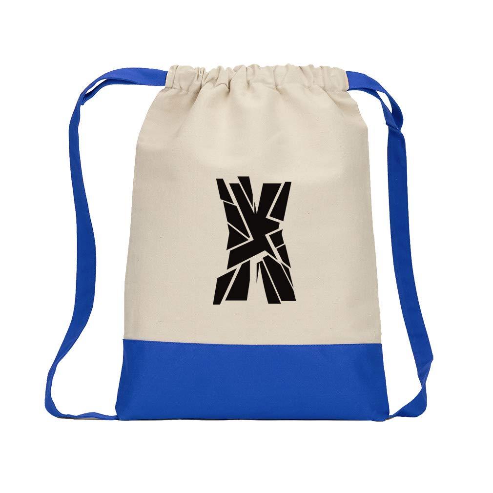 ''X'' Glass Initial Monogram Letter X Cotton Canvas Boys-Girls Backpack Color Drawstring Bag - Royal Blue