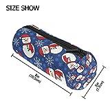 TIZORAX Snowman Snowflake Pattern Pencil Case Pen Zipper Bag Coin Organizer Makeup Costmetic Pouch for Women Teen Girls Boys Kids