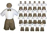 Baby Toddler Boy Kid Wedding Suit DARK TAUPE Shorts Shirt Hat Bow Tie set Sm-4T (4T, Eggplant)