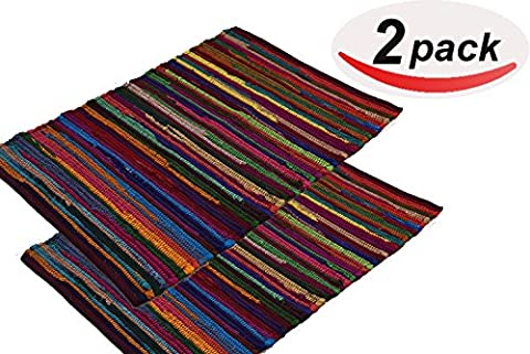 LV RAG RUG SET OF 2 SIZE 20 x 31.5 RED (Men Bathroom Rug Set)
