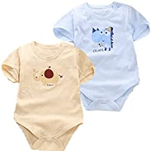 Monvecle Unisex Baby to Toddler 2 Pack Jacquard Jumpsuit Short Sleeve Onesie