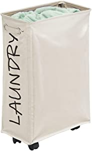 mDesign Slim Fabric Laundry Hamper Basket with Handles, Drawstring Mesh Closure, Wheels - Portable and Foldable for Compact Storage - Single Hamper Design, Novelty Print - Cream Beige/Black