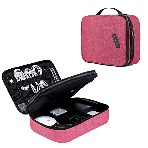 BAGSMART Electronic Organizer Double Layer Travel Cable Organizer Cases Electronics Accessories Storage Bag for 10.5 Inch iPad Pro, iPad air, Charger, Kindle, Rose