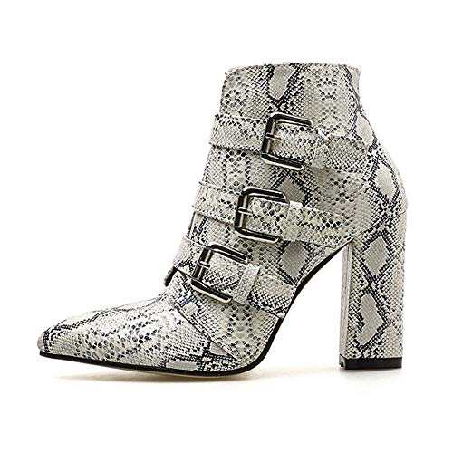 Peize Women Classic Snakeskin Pattern Toe Zip Belt Buckle Boots Ladies Leopard Thick Pointed Shoes Boots