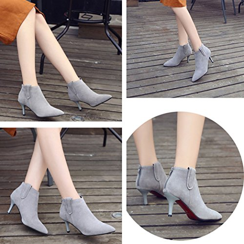 Gaorui Womens Soft Elegant Pointed Toe Back Zipper Dress Stiletto Heel Ankle Booties Grey ZvE9xM