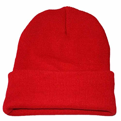 Clearance! iYBUIA Unisex Slouchy Knitting Beanie Hip Hop Cap Warm Winter Ski Hat(Red,One Size)