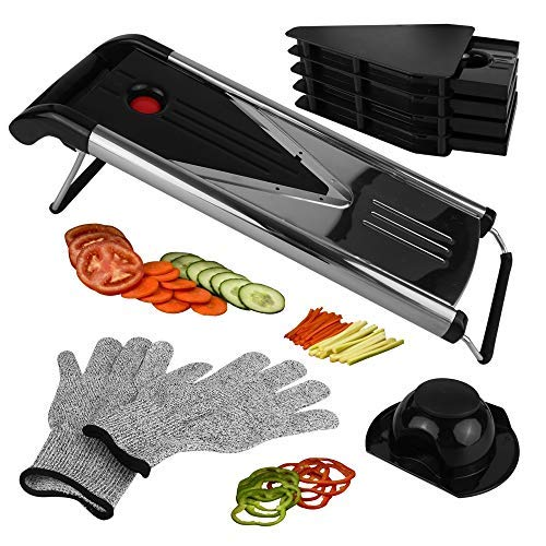 Mandoline Slicer Vegetable Potato Slicer, Julienne Slicer, Onion Cutter, Including 5 Interchangeable Stainless Steel Blades. Cut Resistant Gloves Included.