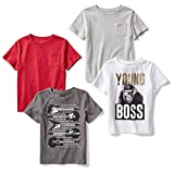 Spotted Zebra Big Boys' 4-Pack Short Sleeve T-Shirt, Young Boss, M